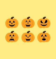 set of pumkins vector image