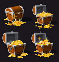 Set old pirate chests full of treasures gold vector