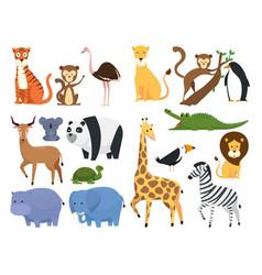 set wild animals in the zoo safari reserve vector image