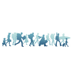 silhouettes tourists walking carrying vector image
