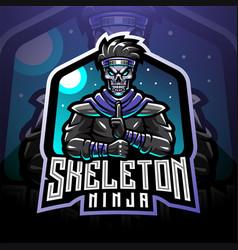 skull ninja esport mascot logo vector image