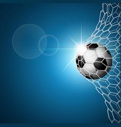 soccer ball in goal blue vector image
