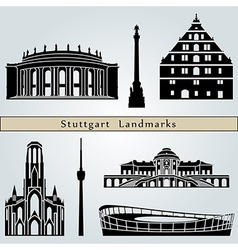 Stuttgart landmarks and monuments vector image