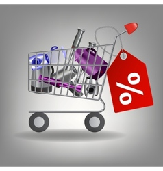 supermarket shopping cart with kitchen vector image