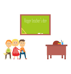 Teacher day greeting card with school children vector
