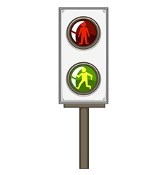 Traffic light with green and red lights vector
