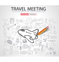 Travel for Business concept with Doodle design vector image
