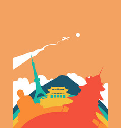 Travel japan world landmark landscape vector