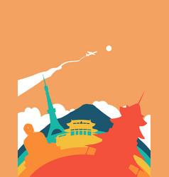 travel japan world landmark landscape vector image