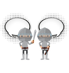 Two knights with speech bubbles vector