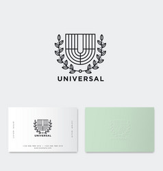 u monogram universal emblem line letter heraldic vector image