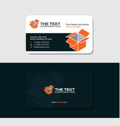 Warehouse business card with orange box vector