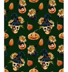 Watercolor halloween pattern vector image