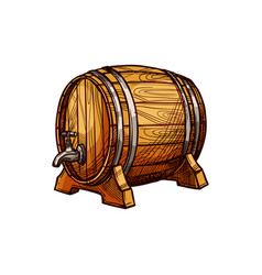 Wooden oak keg with wine beer isolated container vector