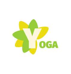 Yoga sport club green logo design template with vector