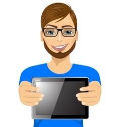 young hipster man displaying tablet vector image