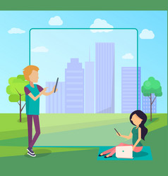 Young people spend time in city park socializing vector