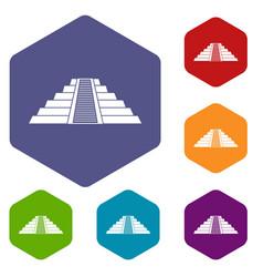 Ziggurat in chichen itza icons set hexagon vector
