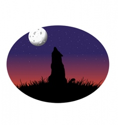 coyote howling moon vector image vector image