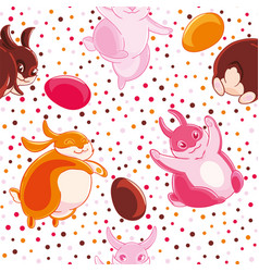 easter seamless pattern with cartoon funny pink vector image