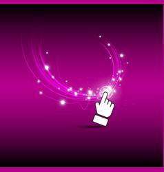 hand click magic button vector image vector image