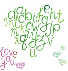 Hand drawn font of hand brushed calligraphic vector image vector image