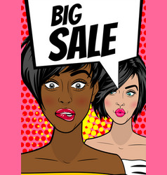 pop art woman big sale banner speech bubble vector image vector image