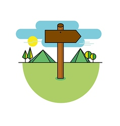 Wooden sign shaped like an arrow on a mountains vector image