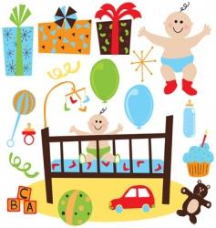 baby boy retro birthday party vector image vector image