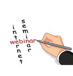 hand writing internet seminar vector image