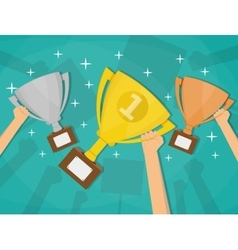 Hands holding trophies winner cups vector image
