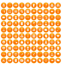 100 criminal offence icons set orange vector image vector image