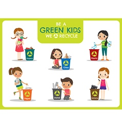 Green kids segregating trash recycling concept vector image