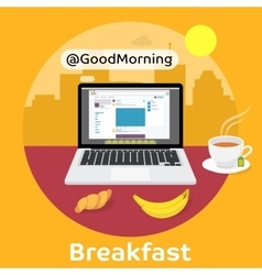 Modern breakfast - Reading the morning news vector image