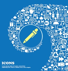 Pen icon nice set of beautiful icons twisted vector