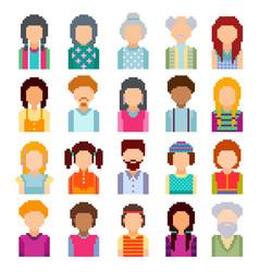 Set of pixel art avatar faces vector