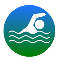swimming water sport sign white icon in vector image