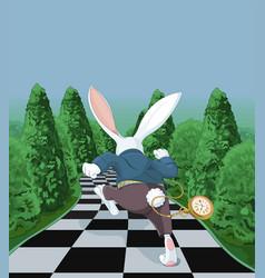white rabbit running away vector image
