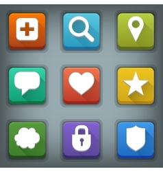 Flat icon set White Symbols Web 3 vector image
