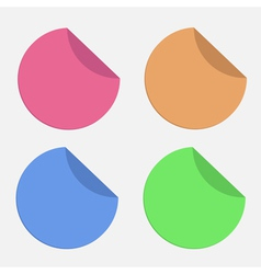 Four round stickers with curved area Template Set vector image