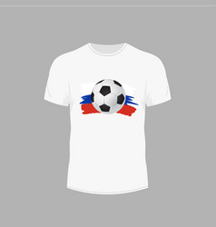 white t-shirt with soccer ball design for ball on vector image