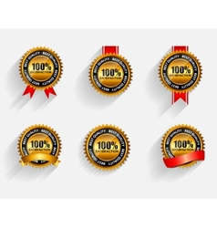 100 Satisfaction Gold Label Set with Red Ribbon vector image