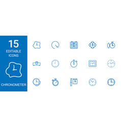15 chronometer icons vector