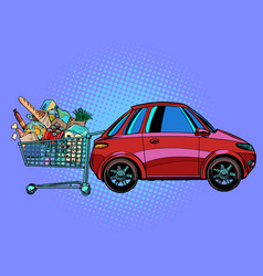 a grocery cart full purchases near car vector image