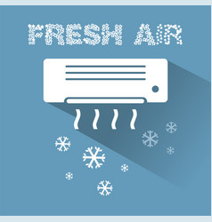 Air conditioner cooling icon with text vector
