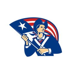 American Patriot Minuteman With Flag Retro vector