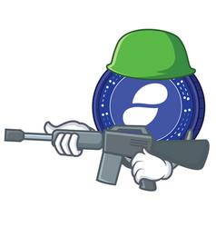 Army status coin character cartoon vector