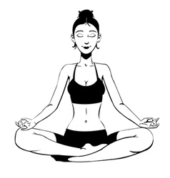 Beautiful girl meditating vector