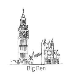 Big ben drawing sketch vector