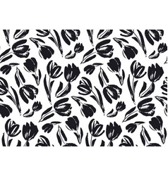black and white sketch tulip seamless pattern vector image